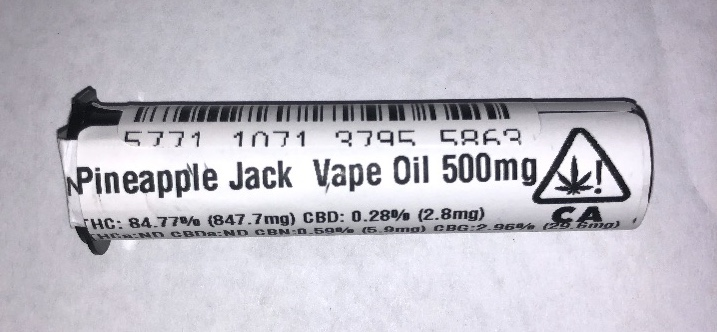 Clear Star Cartridge 500mg Pineapple Jack 84.77%| cannabisstores